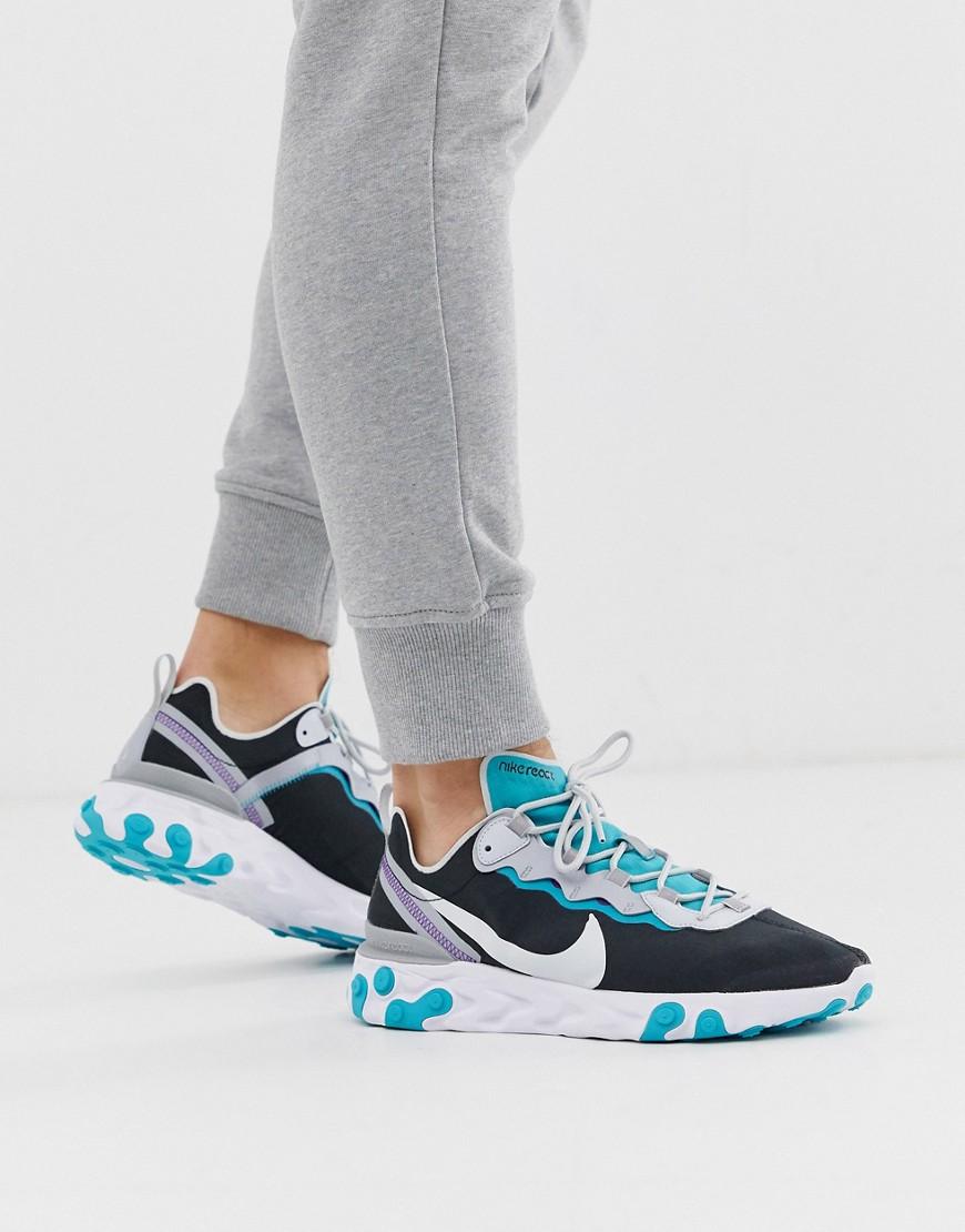 Entrada marzo alto  Nike - React Element 55 - Sneaker in Schwarz und Petrol - SNEEKERSS