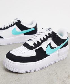 Nike - Air Force 1 Shadow - Sneaker in Weiß, Schwarz und Türkis